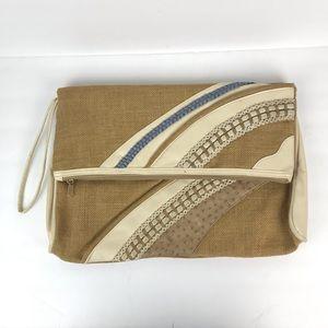Vintage 1980s straw blue white clutch zipper bag